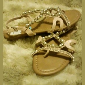 Nicole Gladiator Diamonds and Pearls Sandals NWT